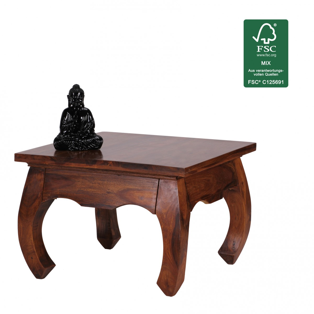 Wohnling sheesham coffee side end table solid wood - Table largeur 60 cm ...