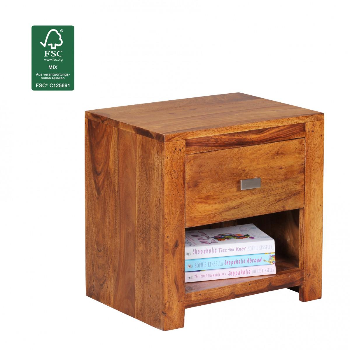 Wohnling sheesham massif bois table de chevet bois tiroir - Table de chevet largeur 30 cm ...