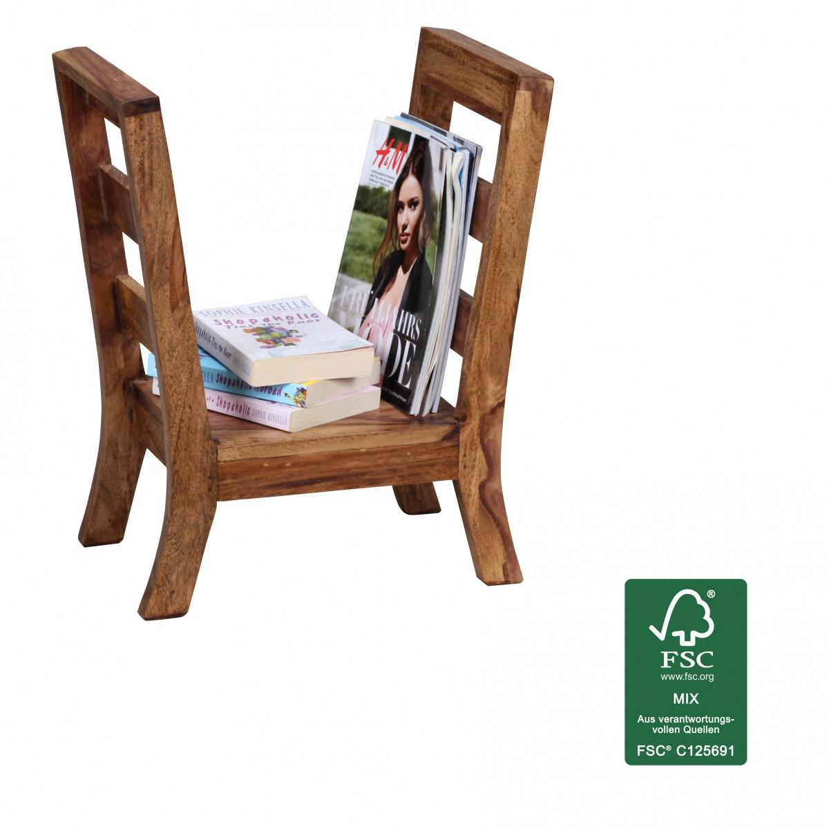 Wohnling sheesham porte revues en bois massif journal for Porte journaux en bois