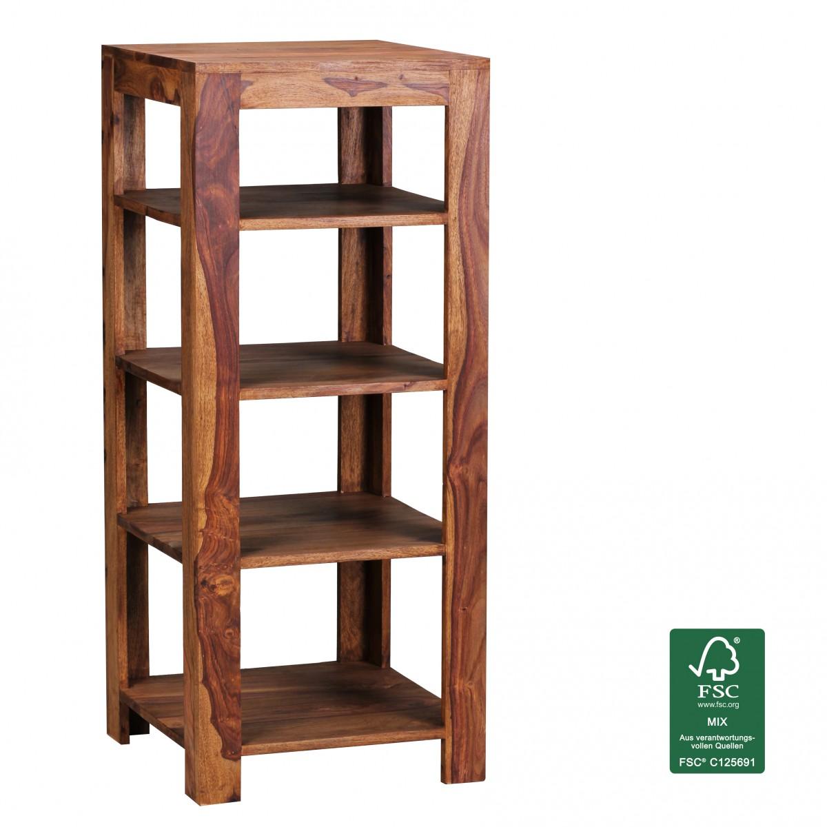 Wohnling sheesham massif bois tag re 105 cm rayon casier meubles neuf ebay - Etagere casier bois ...