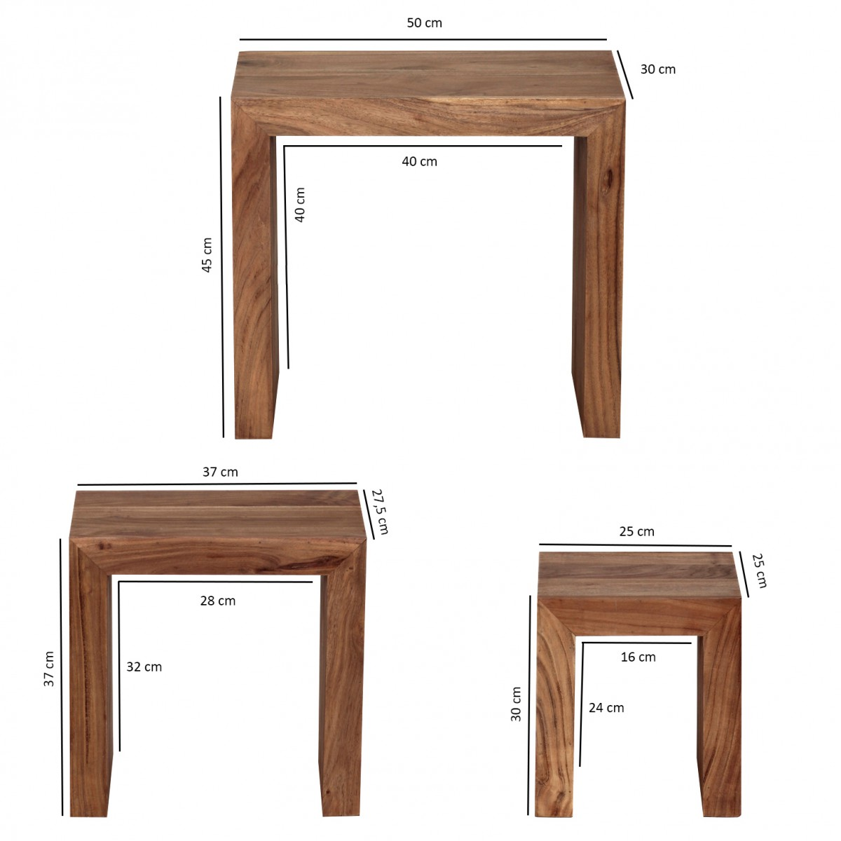 Wohnling Acacia 3 Piece Set Table Solid Wood Side Table Coffee Table New