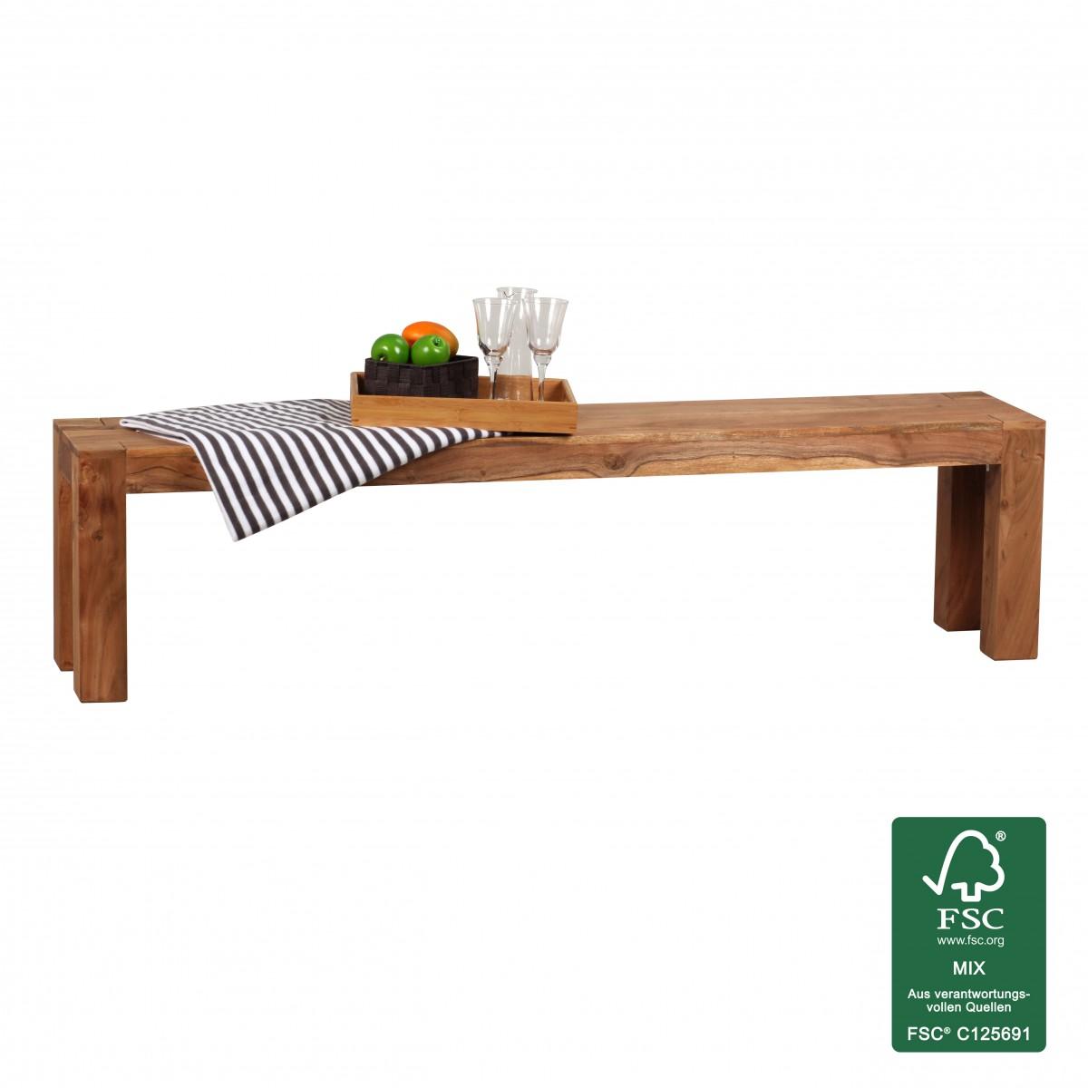 Wohnling acacia de madera maciza banco de comedor 180x35cm for Muebles ebay