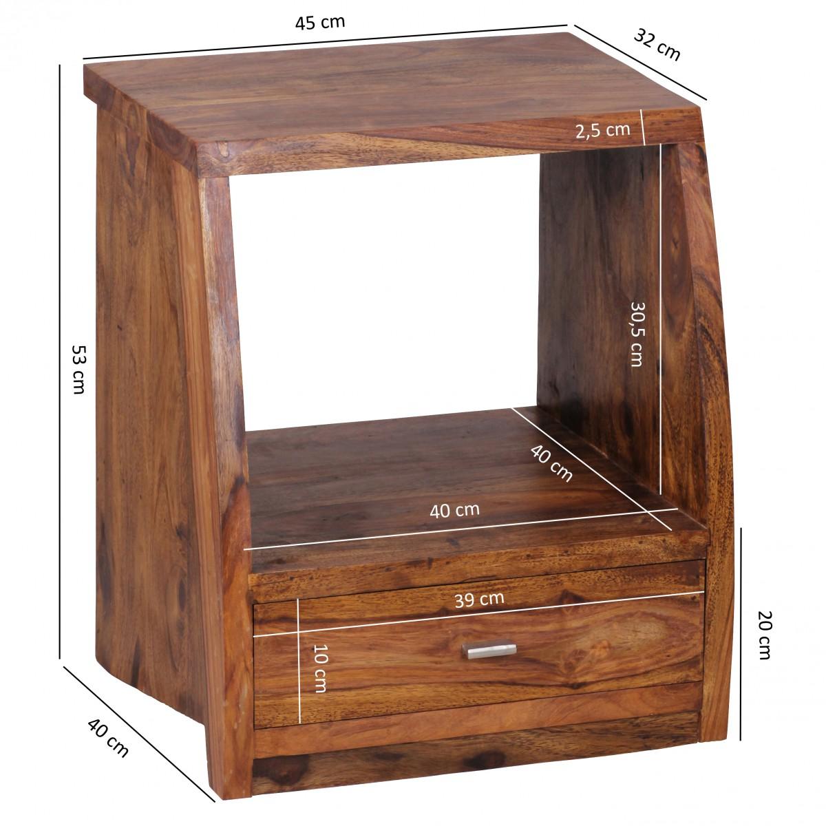 wohnling palissandre bois table de chevet 45cm avec 1 tiroir et tablette neuf. Black Bedroom Furniture Sets. Home Design Ideas