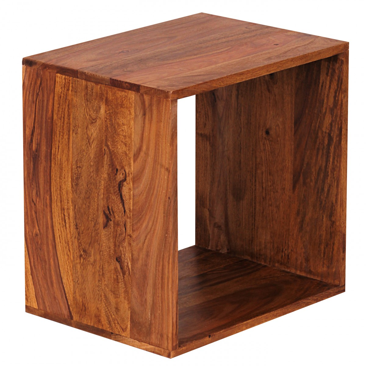 wohnling solid wood sheesham cube shelf 43 5 x 43 5 x 33 cm cube new ebay. Black Bedroom Furniture Sets. Home Design Ideas