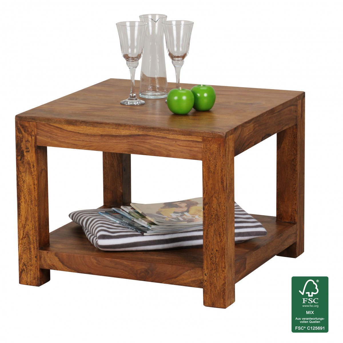 Wohnling bois massif table palissandre caf 60 x 60 x 45 for Table en palissandre massif