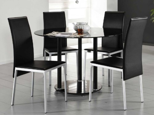 design esszimmertisch 110 cm runder esstisch k chentisch aus glas schwarz neu ebay. Black Bedroom Furniture Sets. Home Design Ideas