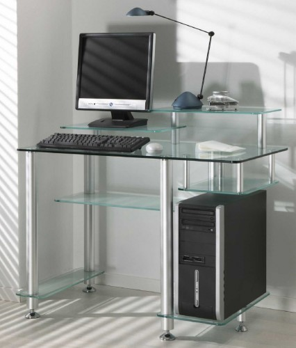 design schreibtisch glas 100 x 55 cm moderner computertisch pc tisch aus glas ebay. Black Bedroom Furniture Sets. Home Design Ideas