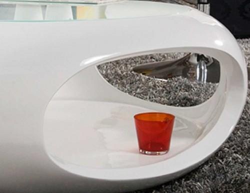 Exklusiver Glasfaser Couchtisch mit Glasplatte  wei