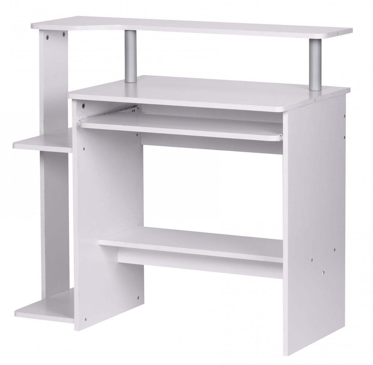 wohnling computertisch dennis wei mit ablage pc tisch. Black Bedroom Furniture Sets. Home Design Ideas