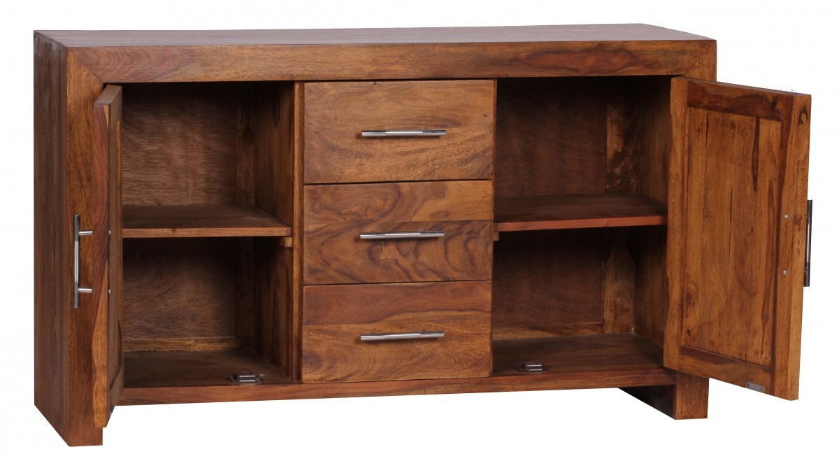 Xxl sheesham massiv sideboard 118 5 x 40 cm massivholz for Sideboard 40 cm