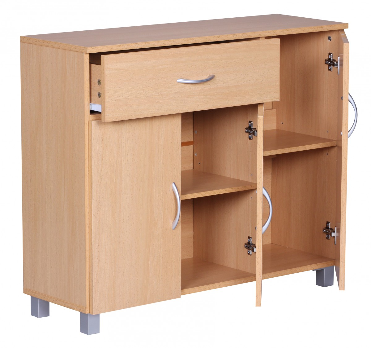 wohnling sideboard doors drawer cupboard buffet furniture cabinet storage beech ebay. Black Bedroom Furniture Sets. Home Design Ideas
