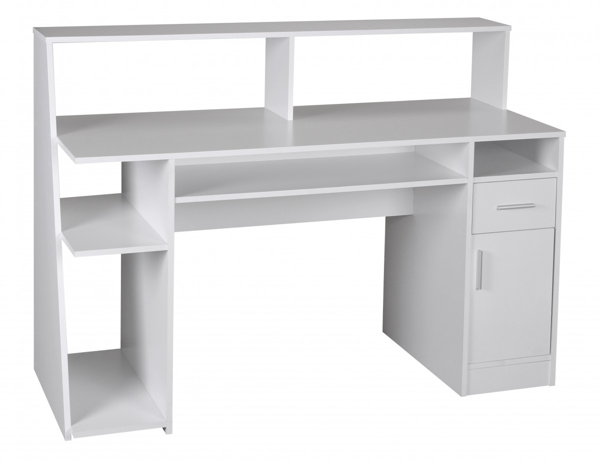 wohnling multifunction computer desk table white 100cm office home. Black Bedroom Furniture Sets. Home Design Ideas