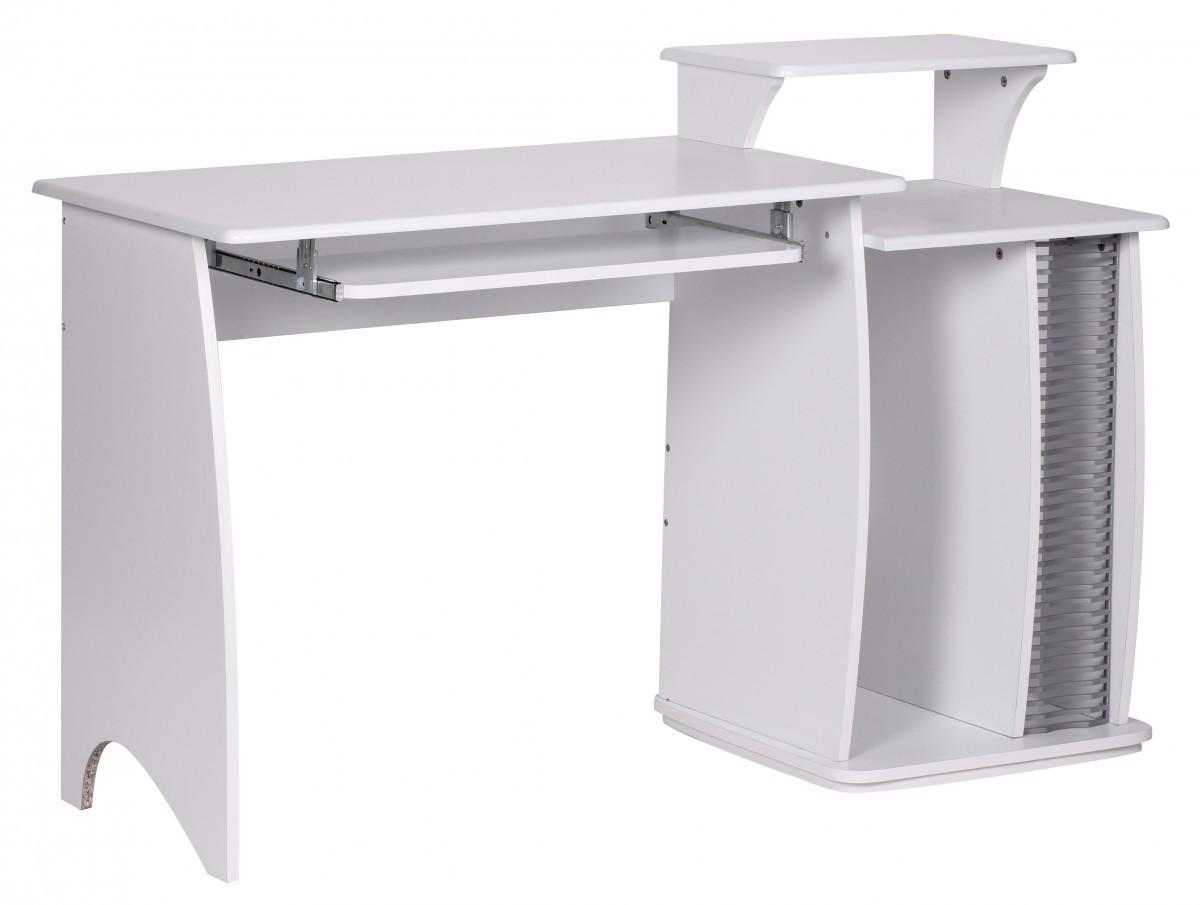 Eleganter computertisch wei 130 cm cd ablage schreibtisch for Schreibtisch weiss 130 cm