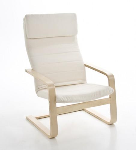 design relaxstuhl freischwinger holz wei inkl kissen. Black Bedroom Furniture Sets. Home Design Ideas