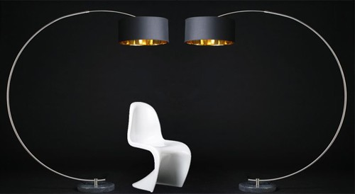 amstyle design python bogenlampe stehleuchet stehlampe schirm in schwarz gold ebay. Black Bedroom Furniture Sets. Home Design Ideas