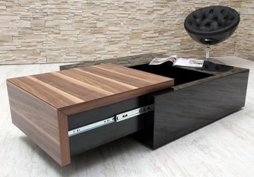 Amstyle design couchtisch secret box schwarz walnuss for Couchtisch extravagant