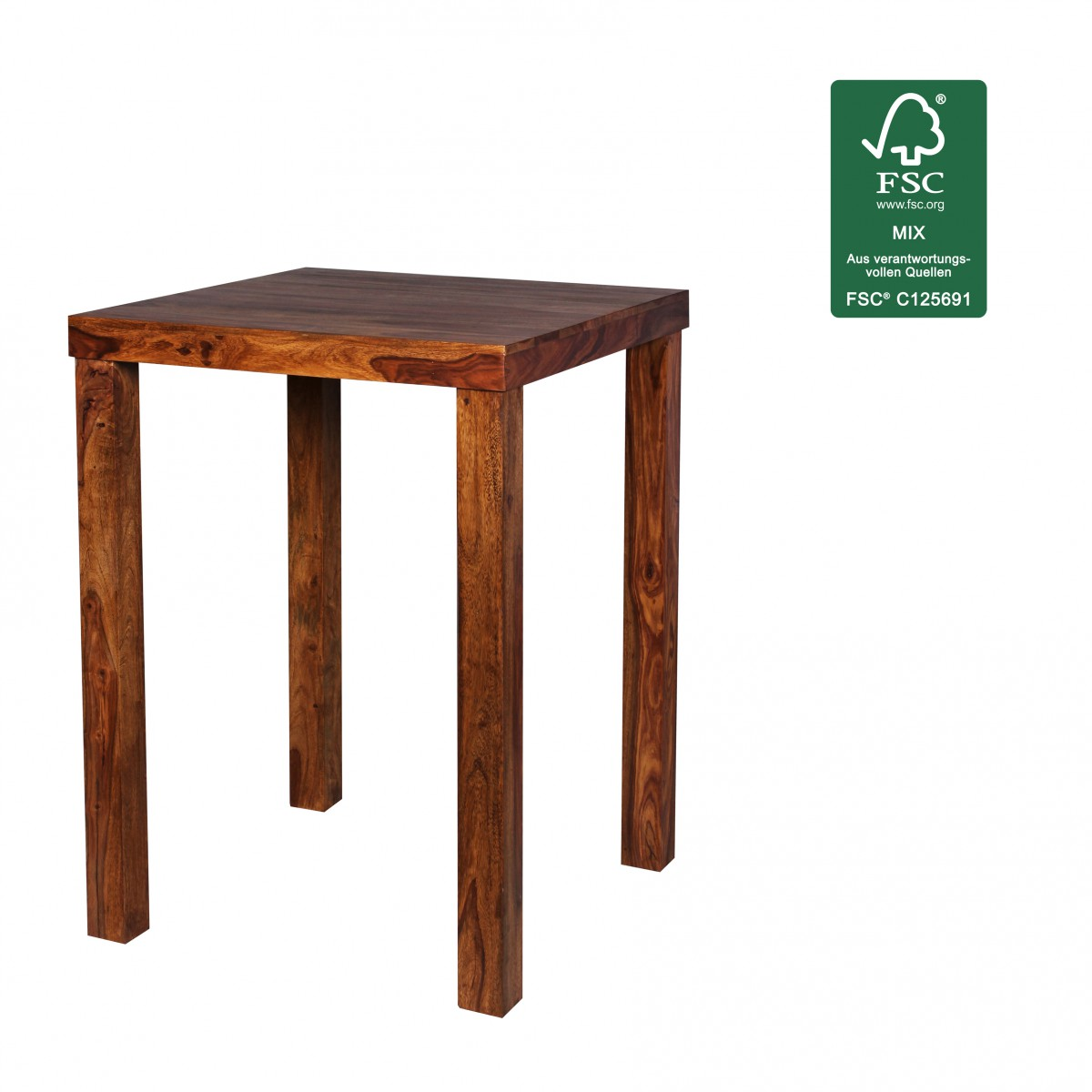 Wohnling sheesham bois massif bar tableau table 80 x 80 cm for Table salle a manger 80 cm largeur