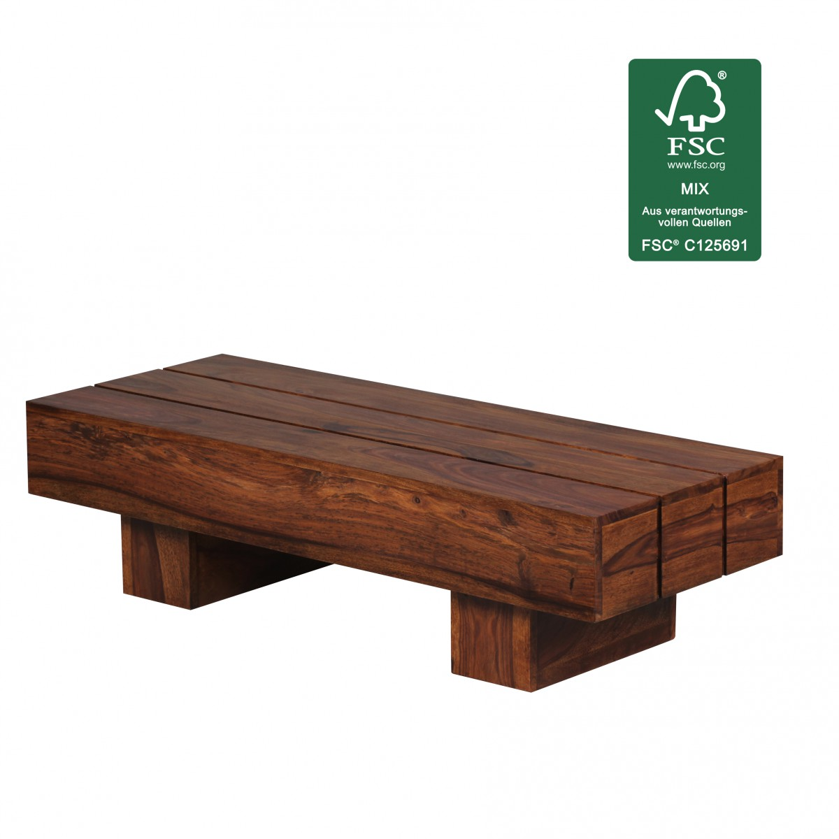 Wohnling sheesham table basse massif en bois massif salon for Table bois massif