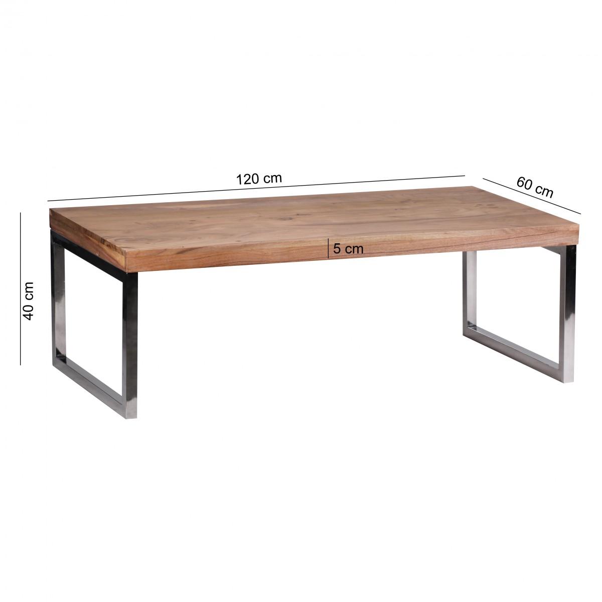 wohnling couchtisch massiv holz akazie 120 cm breit wohnzimmer tisch design dunkel braun. Black Bedroom Furniture Sets. Home Design Ideas