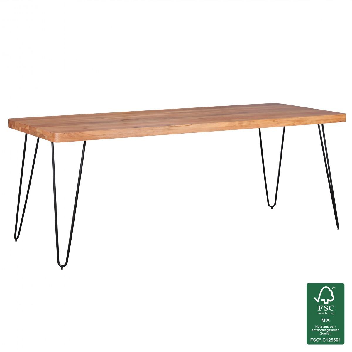 wohnling massivholz akazie esstisch 200x80x76 cm k chentisch massiv tisch neu ebay. Black Bedroom Furniture Sets. Home Design Ideas