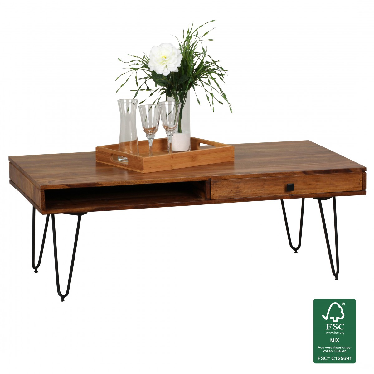 wohnling solid wood sheesham coffee table 120 x 60 x 40 cm with 2 drawers new. Black Bedroom Furniture Sets. Home Design Ideas