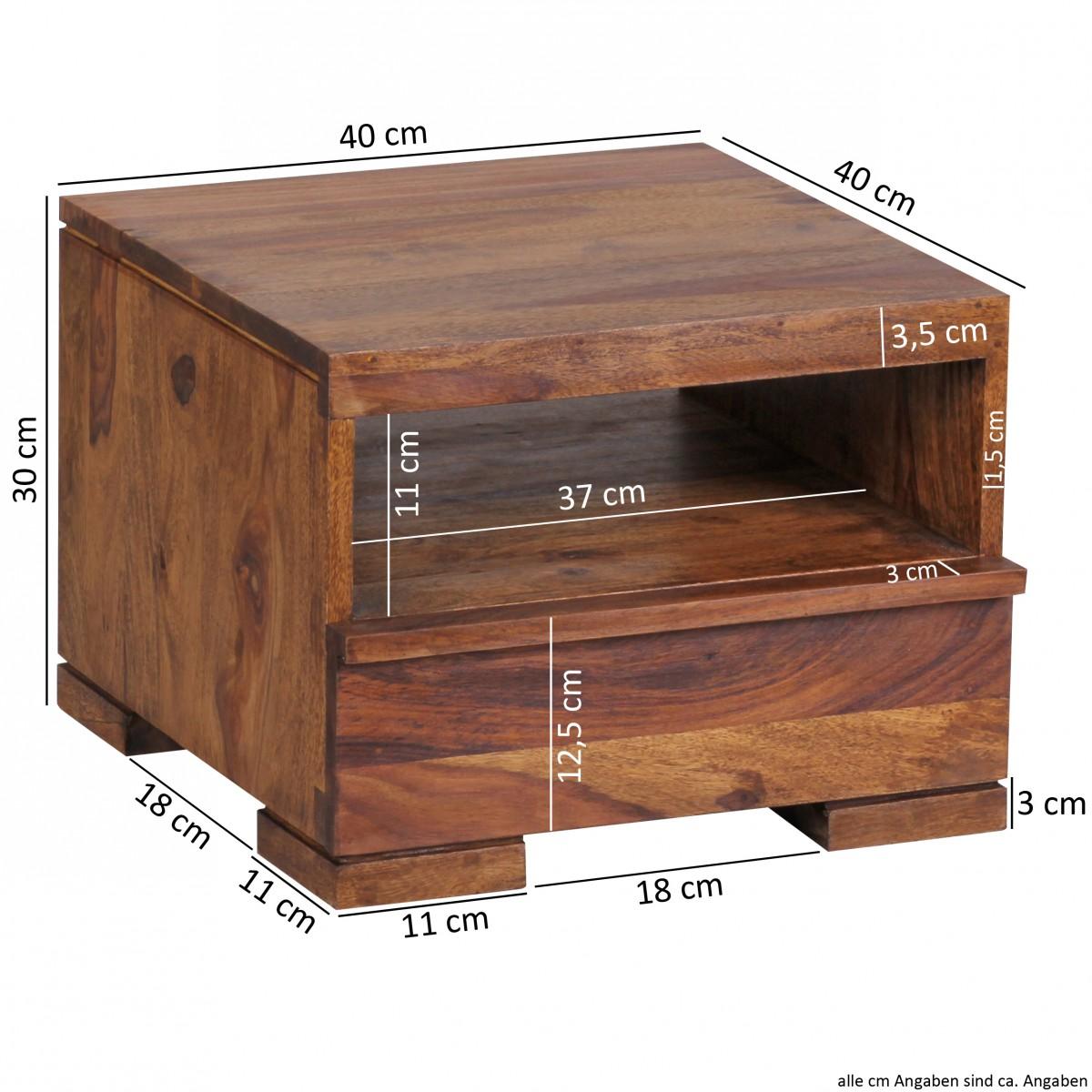 wohnling sheesham solide table de chevet en bois avec tiroir 40 x 40 x 30cm neuf ebay. Black Bedroom Furniture Sets. Home Design Ideas