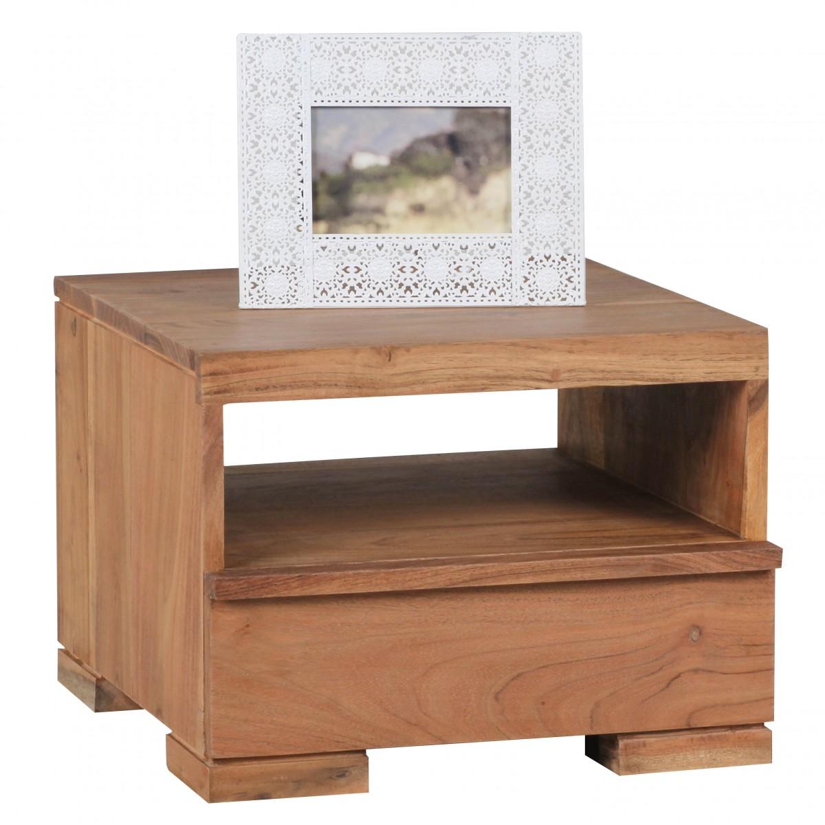 Wohnling acacia solide table de chevet en bois avec tiroir for Chevet mural avec tiroir