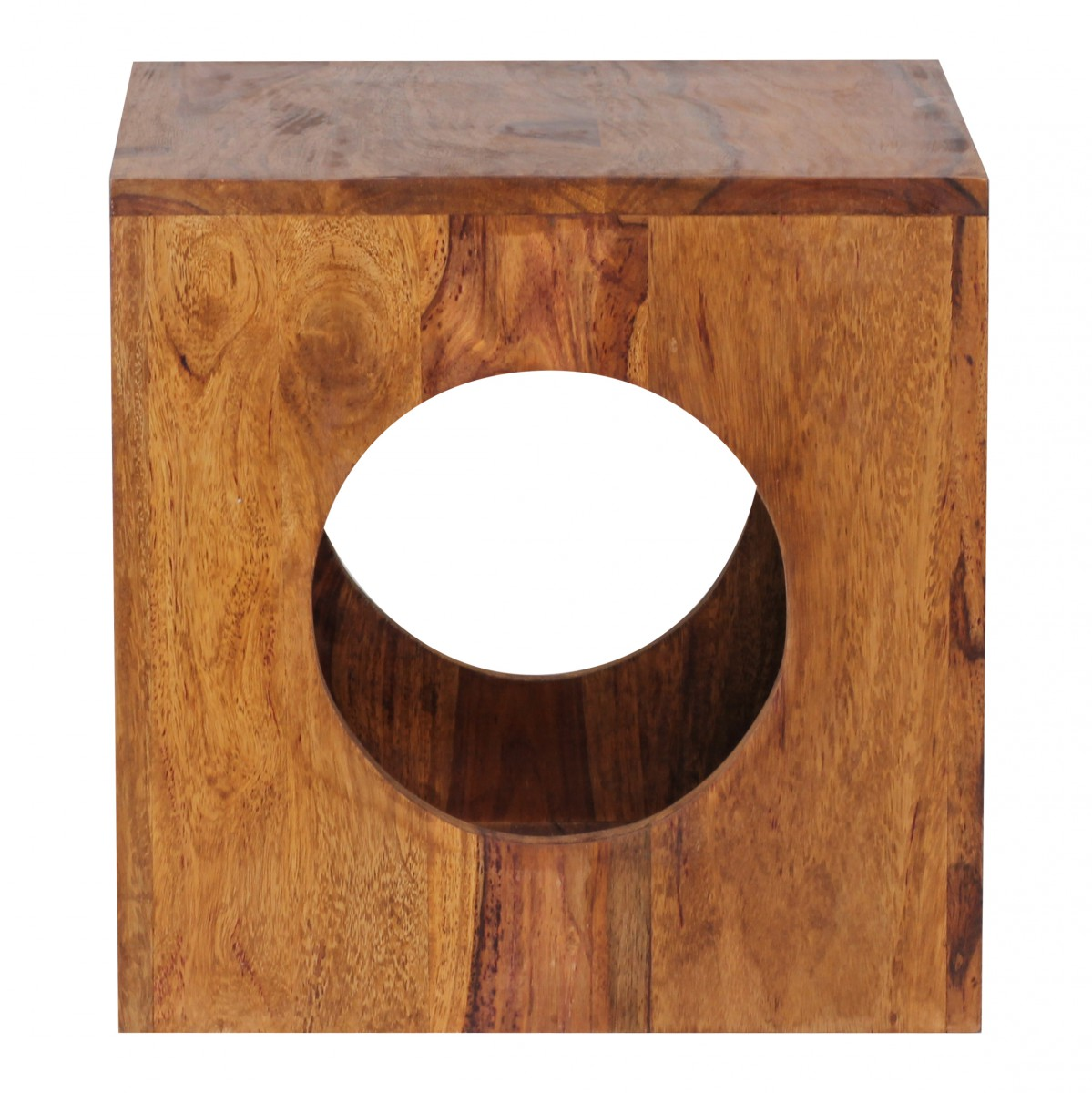 Wohnling sheesham solid wood side table 35 x 35 cm cube for Solid wood cube side table