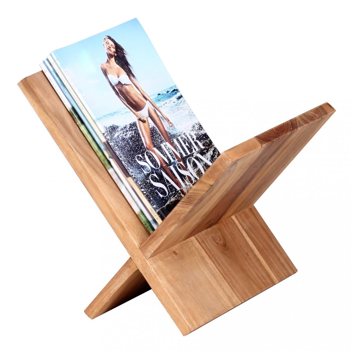 Wohnling zeitungsst nder massivholz akazie x form 31 cm - Porte revues en bois ...