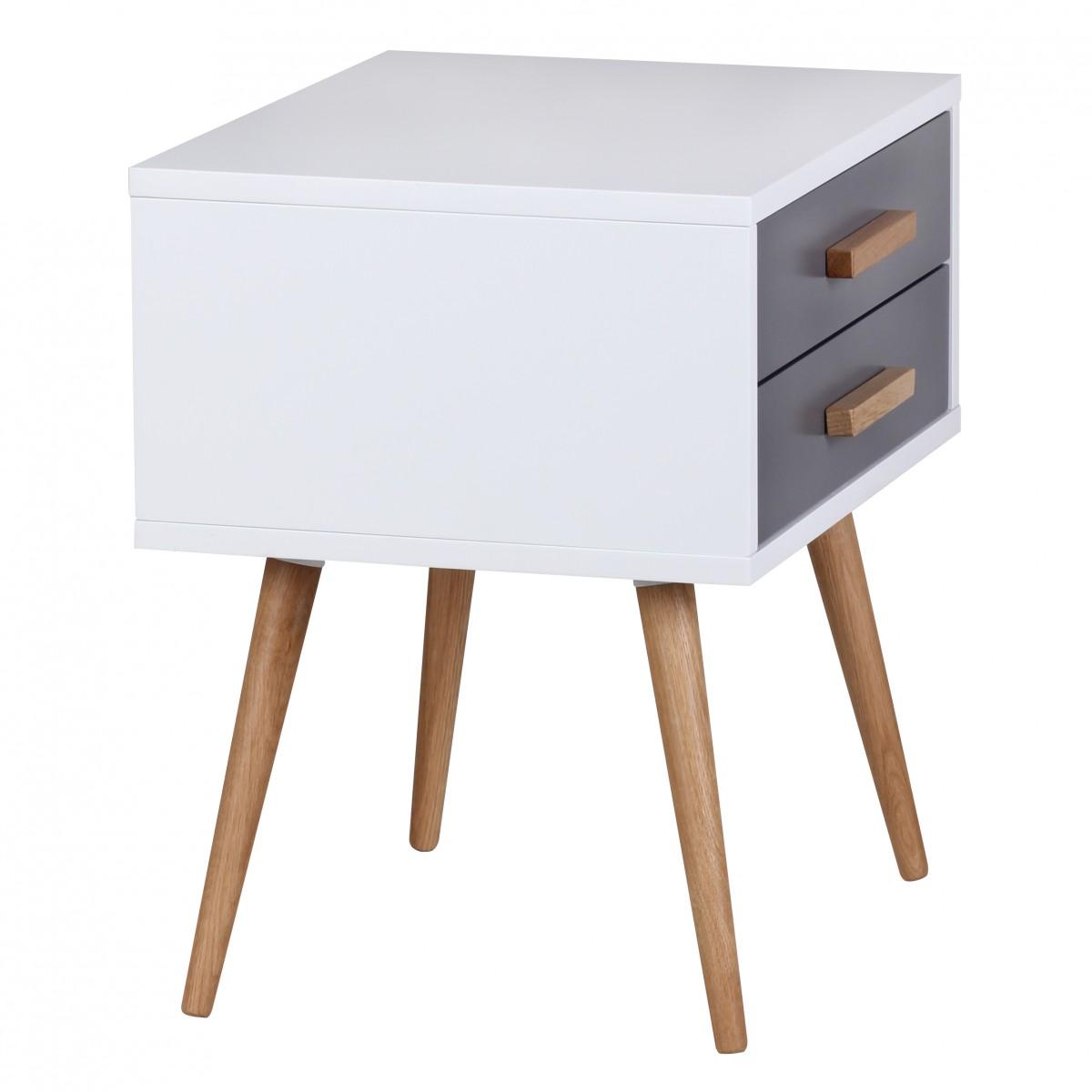wohnling retro nachttisch wei grau scanio mit 2 schubladen f e eiche 39048. Black Bedroom Furniture Sets. Home Design Ideas
