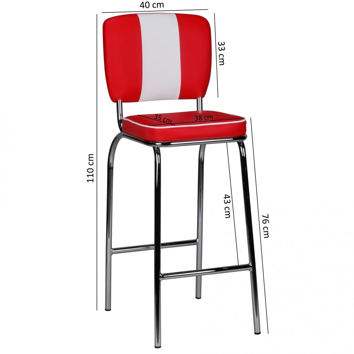 wohnling barstool am ricain 50s diner bar tabouret de bar retro rouge blanc neuf ebay. Black Bedroom Furniture Sets. Home Design Ideas