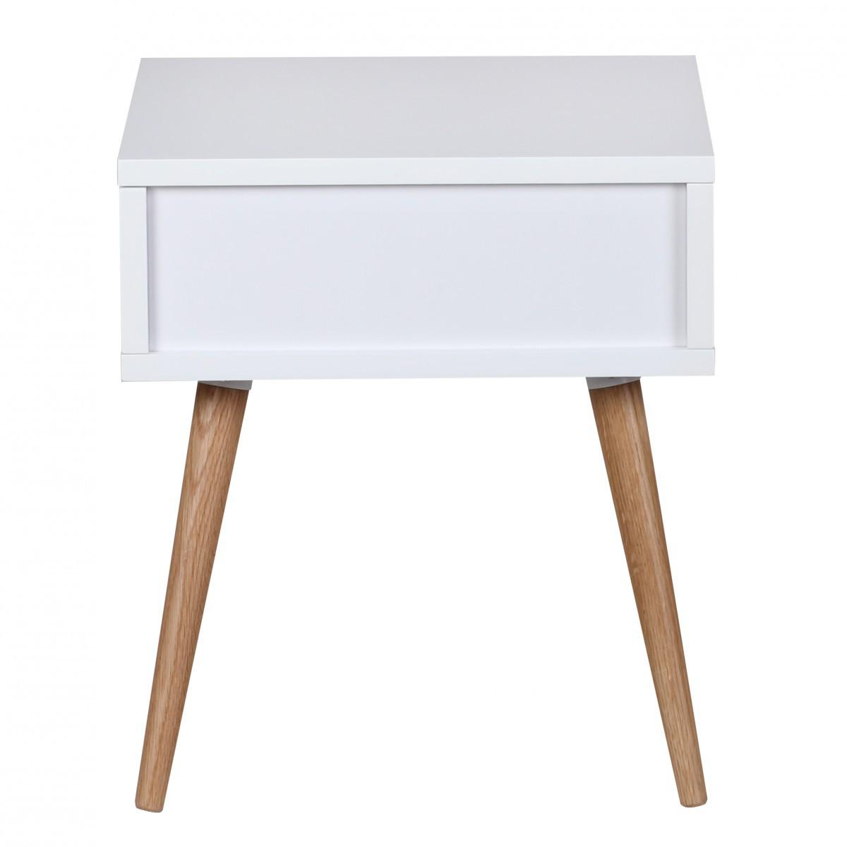 finebuy retro nachttisch wei matt mit schublade f e eiche 40049. Black Bedroom Furniture Sets. Home Design Ideas