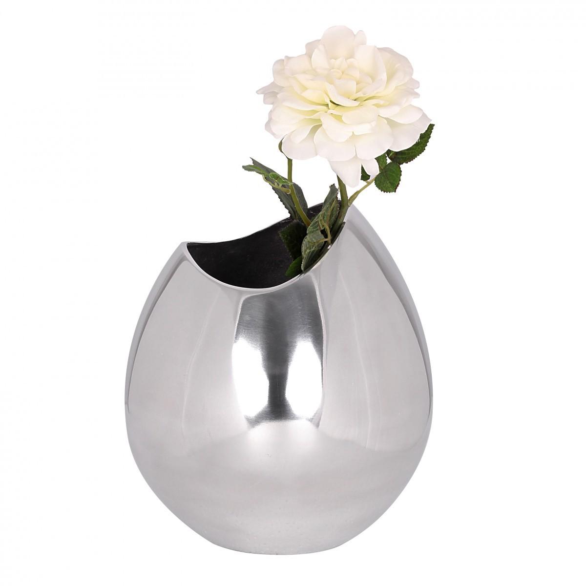 design deko vase tischvase aus aluminium blumenvase farbe silber neu ebay. Black Bedroom Furniture Sets. Home Design Ideas