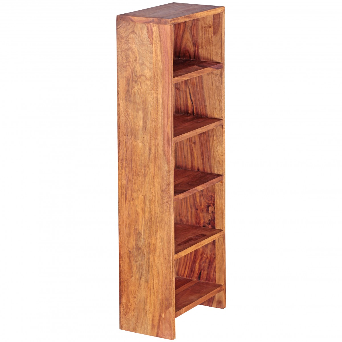 wohnling cd regal massivholz sheesham standregal 90cm hoch aufbewahrung 5 f cher ebay. Black Bedroom Furniture Sets. Home Design Ideas