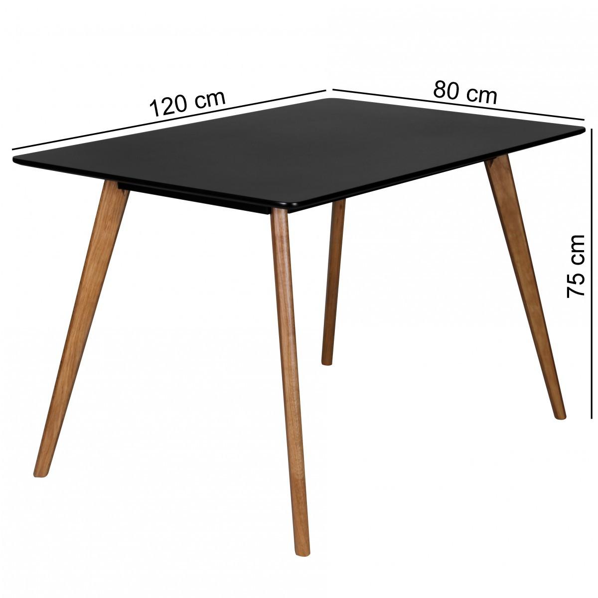 Moderner retro esstisch 120cm schwarz matt eiche for Esstisch retro
