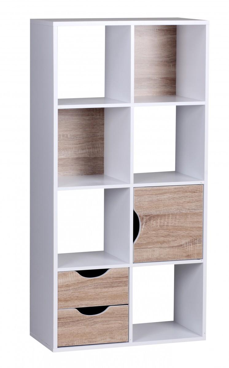 finebuy design b cherregal modern holz wei mit t ren sonoma eiche ablagef cher standregal. Black Bedroom Furniture Sets. Home Design Ideas