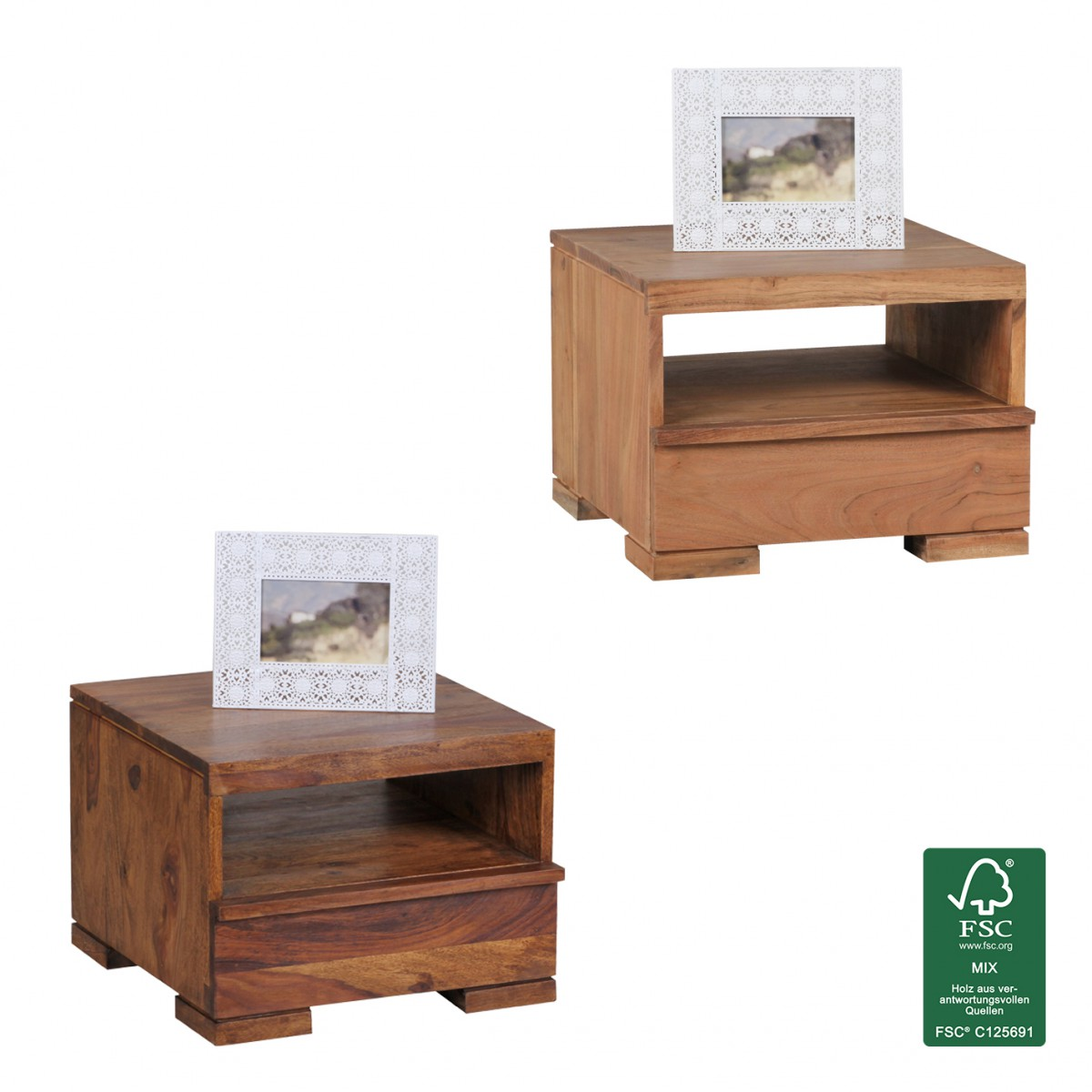 Finebuy table de chevet en bois massif table de chevet 30 cm tiroir de ferme - Table de chevet 30 cm ...