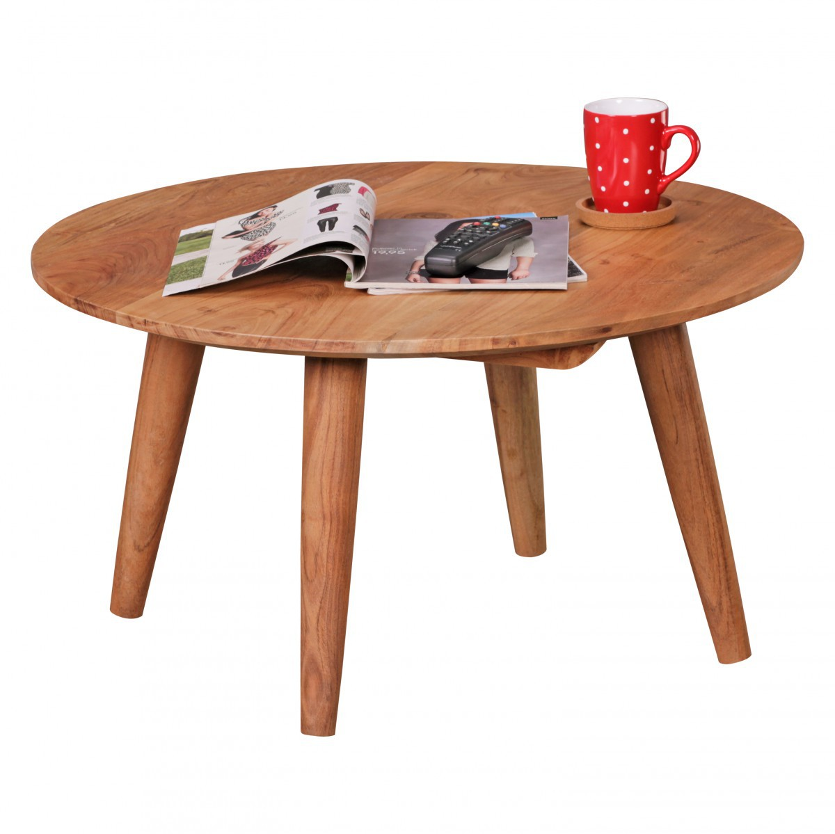 Finebuy table basse en bois massif acacia table basse ronde 75 x 40 cm ferme - Table ronde verre bois ...