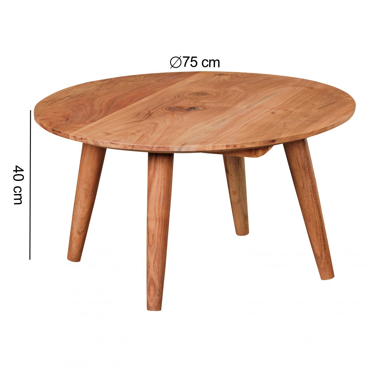 Finebuy table basse en bois massif acacia table basse ronde 75 x 40 cm ferme - Table basse bois fonce ...