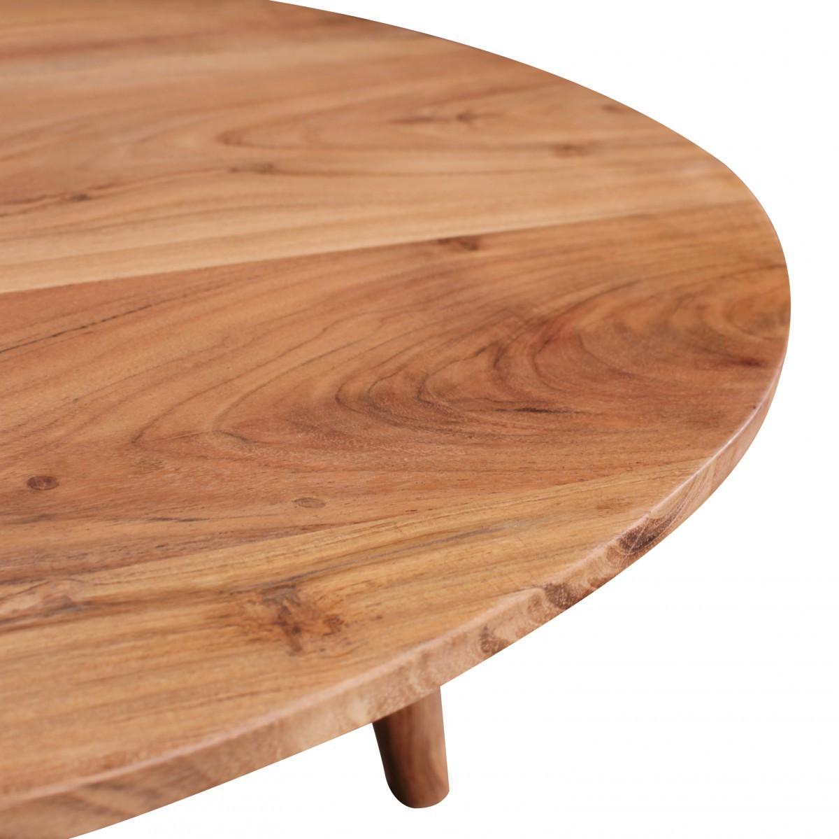 finebuy couchtisch massivholz akazie wohnzimmertisch rund 75 x 40 cm beistelltisch mit 4. Black Bedroom Furniture Sets. Home Design Ideas