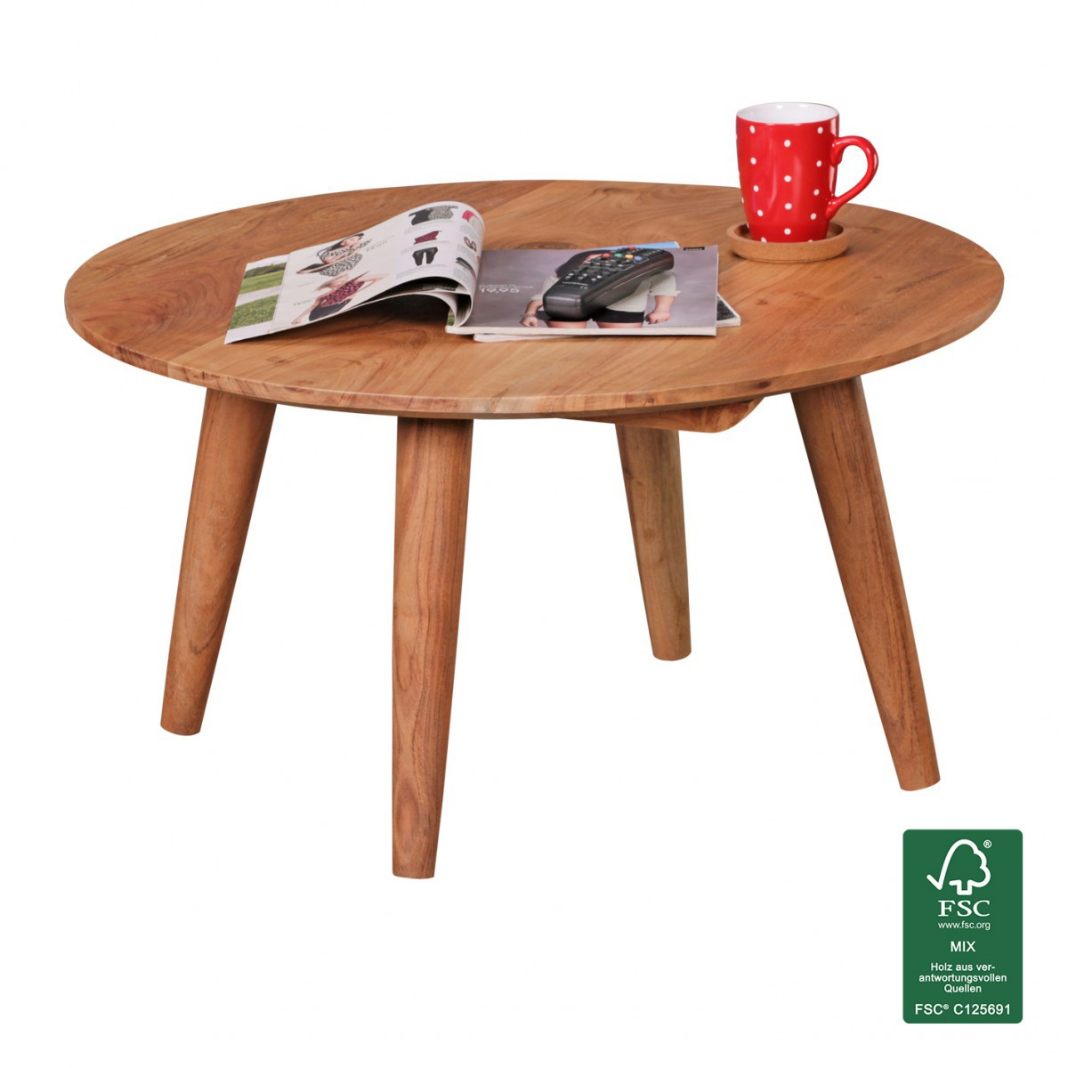 Finebuy table basse en bois massif acacia table basse - Table basse relevable ronde ...