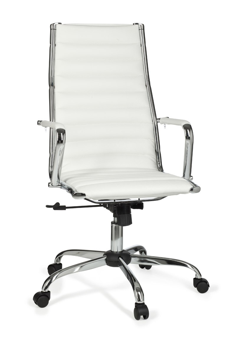 White office swivel chair faux leather computer work desk for Desk chair white leather
