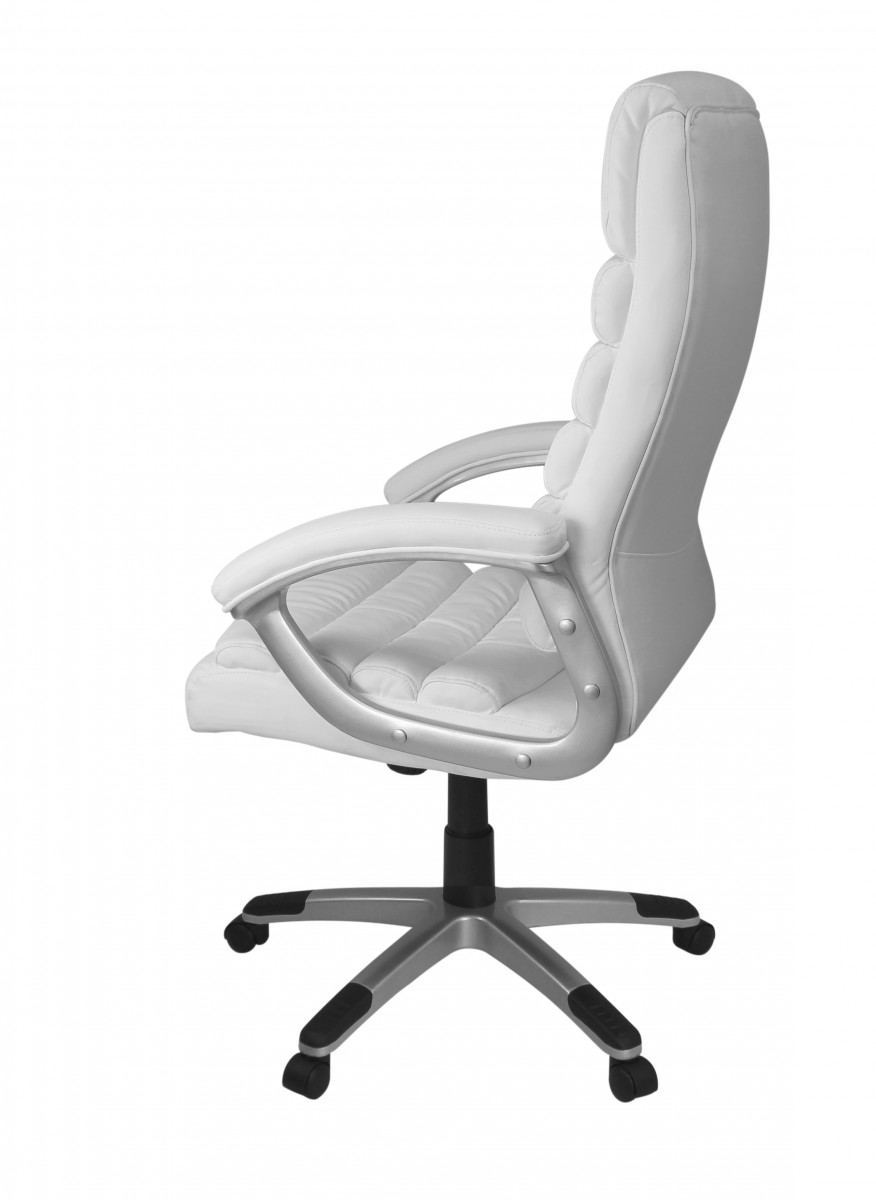 Amstyle executive office chair faux leather white desk for Bester chefsessel