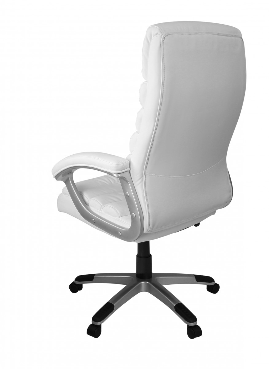 Amstyle executive office chair faux leather white desk for Desk chair white leather