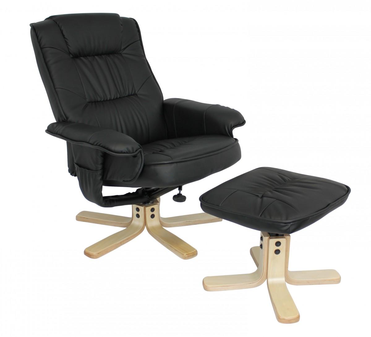 amstyle fernsehsessel comfort tv design relax sessel bezug kunstleder schwarz drehbar mit hocker. Black Bedroom Furniture Sets. Home Design Ideas