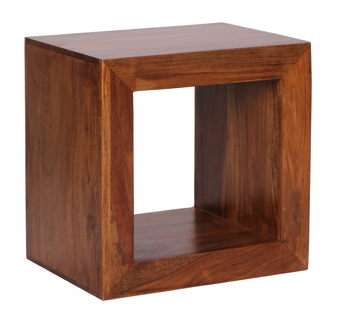 wohnling standregal massivholz sheesham 44cm hoch cube regal design holzregal naturprodukt. Black Bedroom Furniture Sets. Home Design Ideas
