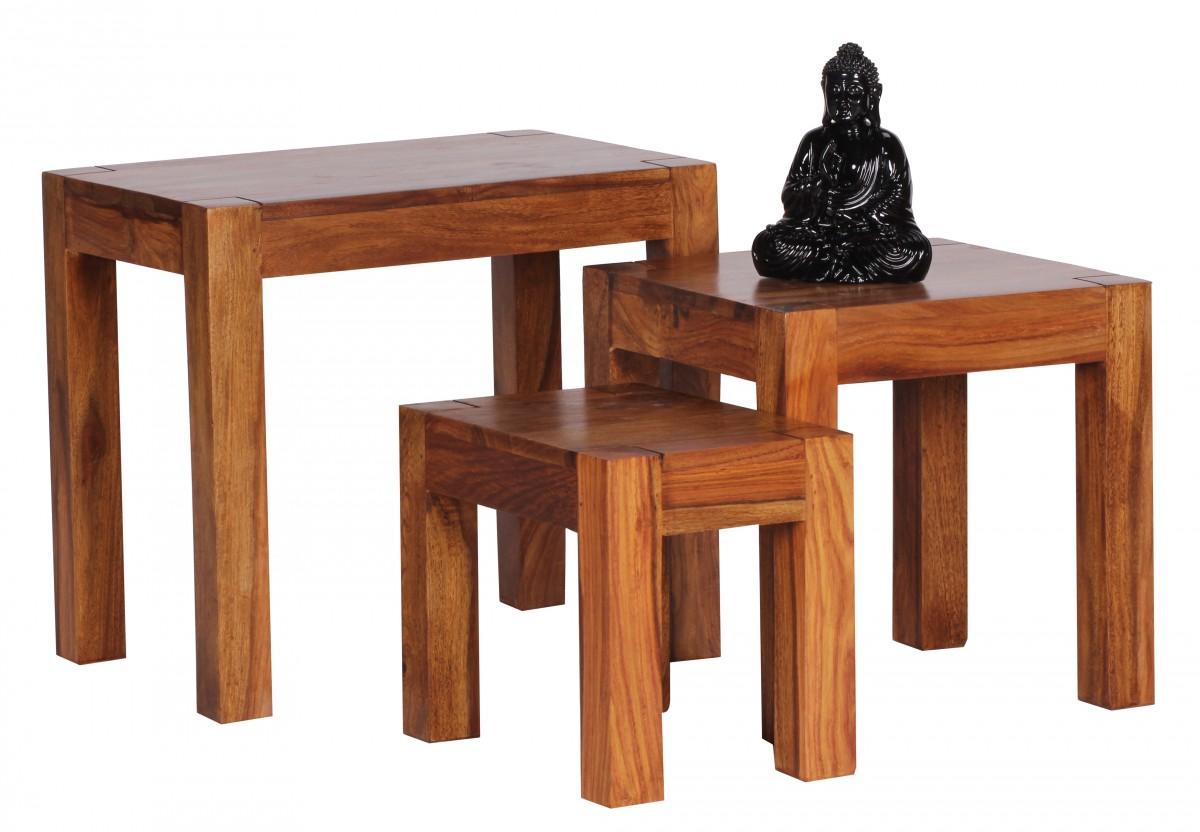 wohnling 3 teiliger satztisch massiv beistelltisch. Black Bedroom Furniture Sets. Home Design Ideas
