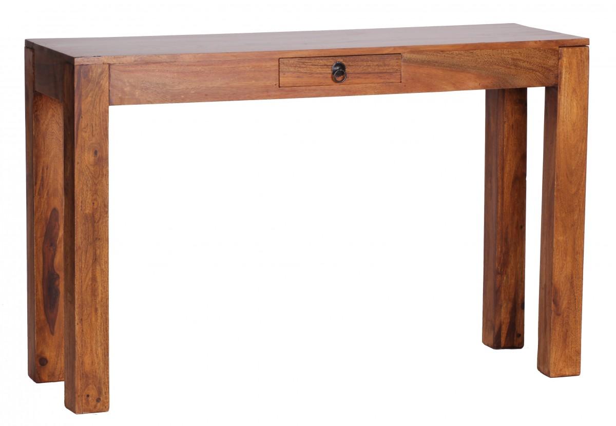 wohnling konsolentisch massivholz sheesham konsole mit 1 schublade schreibtisch 120 x 40 cm. Black Bedroom Furniture Sets. Home Design Ideas