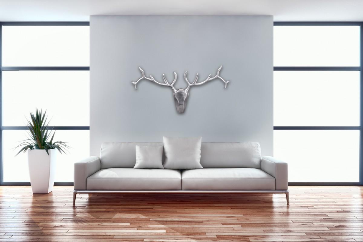 wohnling hirschgeweih wanddekoration 98 cm breit alu. Black Bedroom Furniture Sets. Home Design Ideas