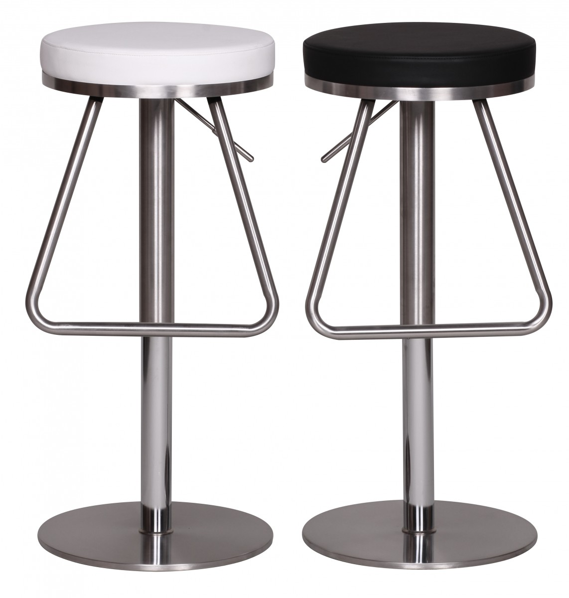 Bar Stool Stainless Steel Brushed Faux Leather Swivel